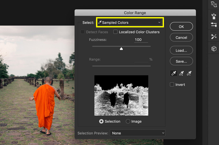 A screenshot showing how to select 'sampled colors' in Photoshop