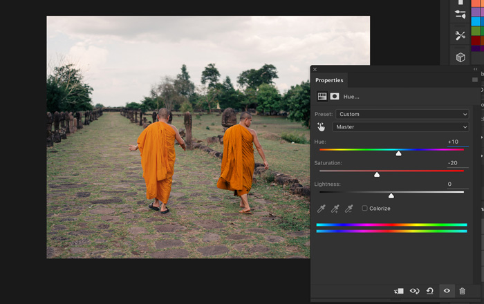 A screenshot showing how to replace color in photoshop - hue/saturation