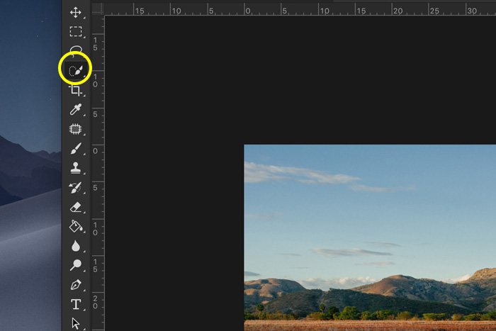 A screenshot showing how to change the color of the sky in Photoshop - quick selection tool