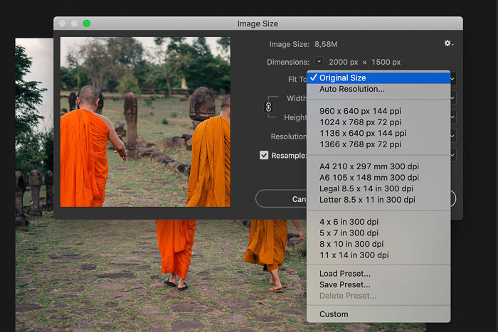 A screenshot showing how to increase image size in Photoshop