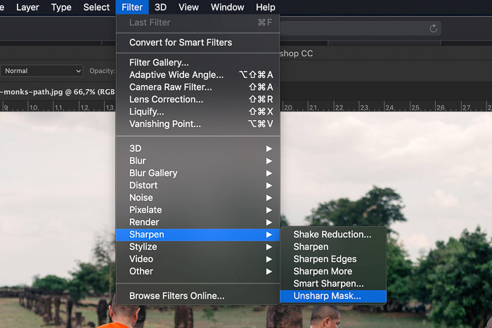A screenshot showing how to select unsharp mask in Photoshop