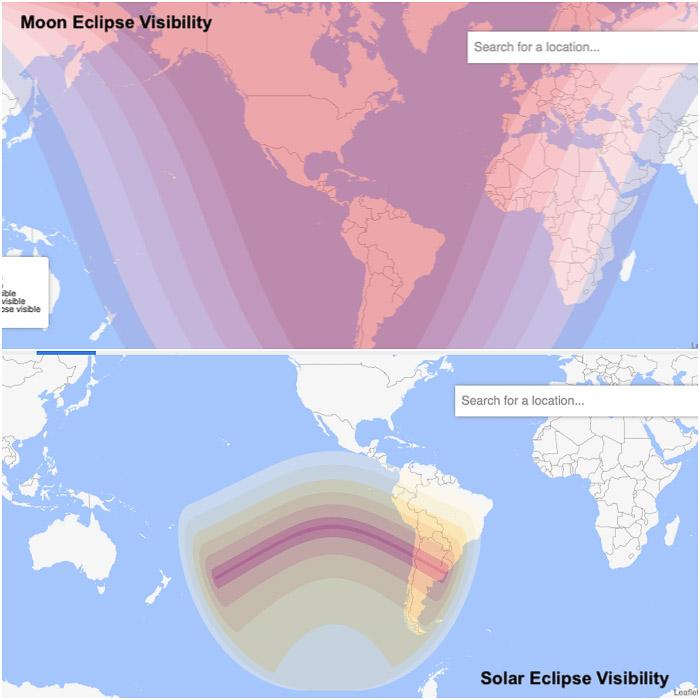 Comparação entre a visibilidade mundial de um eclipse lunar típico (em cima) e um eclipse solar (em baixo).