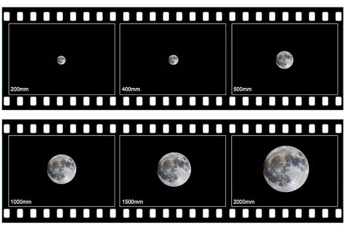 A lua cheia, em diferentes distâncias focais