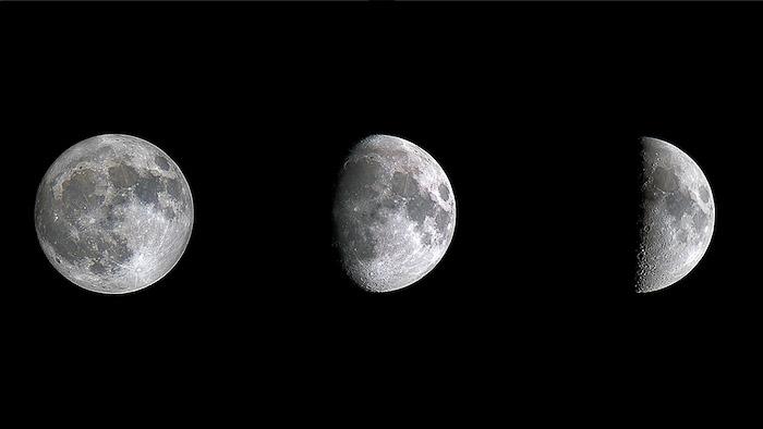 A Lua em diferentes fases, fotografada com um teleconversor Olympus Zuiko OM 200 f / 4 e Olympus Zuiko OM 2X-A com mais de 40 anos, totalmente manual, em uma câmera Olympus OM-D EM5 Mk ii.