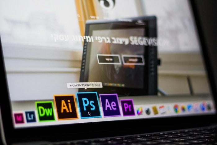 Laptop with Adobe Photoshop icon