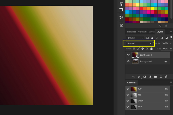 A screenshot showing how to use Light Leak Overlays in Photoshop - change blending mode