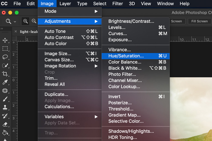 A screenshot showing how to use Light Leak Overlays in Photoshop - hue/saturation