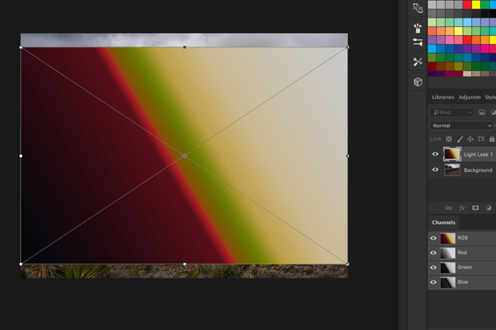 A screenshot showing how to use Light Leak Overlays in Photoshop - resize or reposition