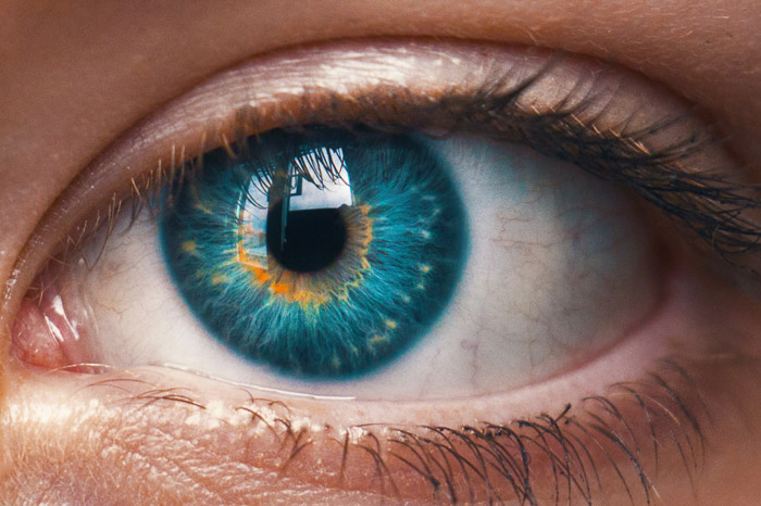 A close up photo of a blue eye