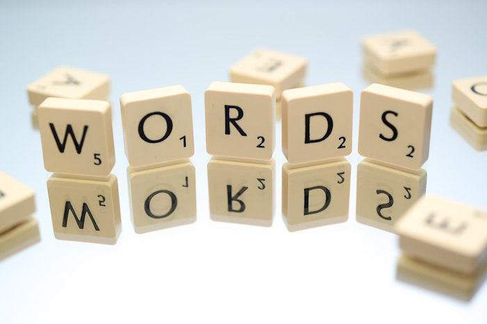 Scrabble pieces spelling 'words' - marketing and branding photography
