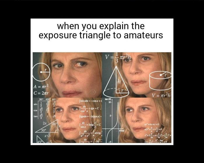 exposure triangle photography meme