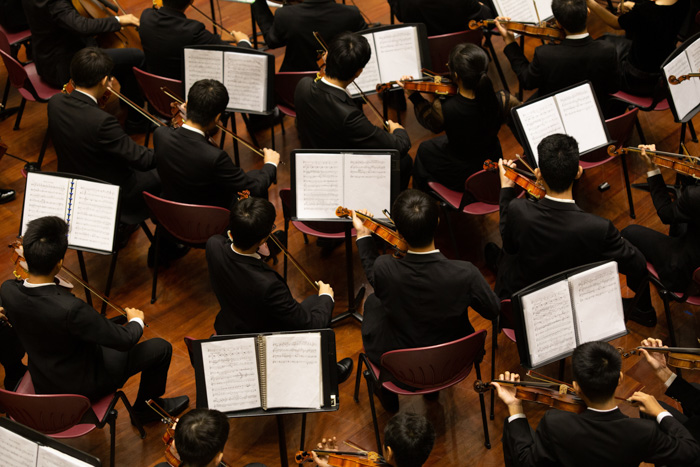 An overhead shot of classical musicians playing - expert photography questions