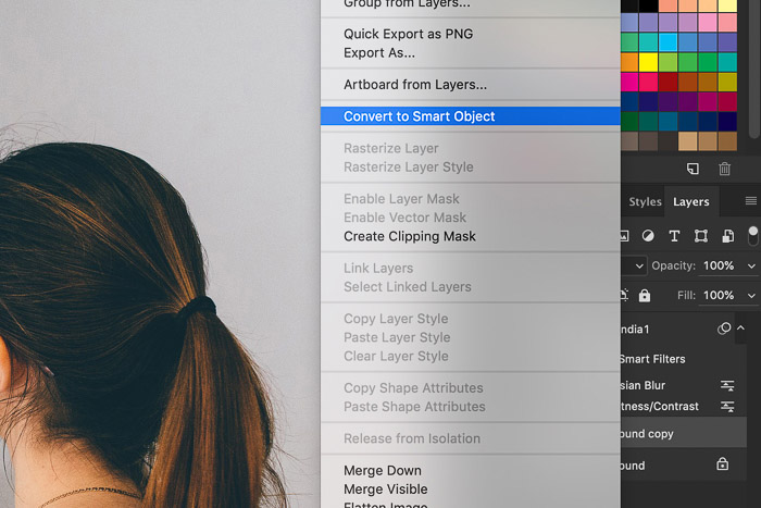 How to Use Photoshop Smart Objects - convert to smart object