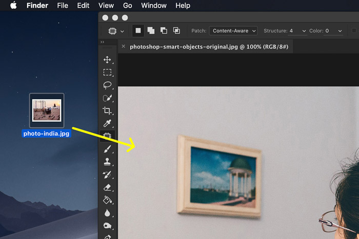 How to Use Photoshop Smart Objects - Drag your photo onto the art board
