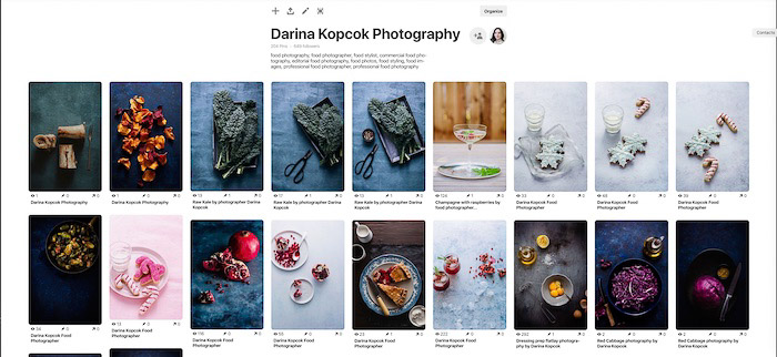 A screenshot of a photographers pinterest board