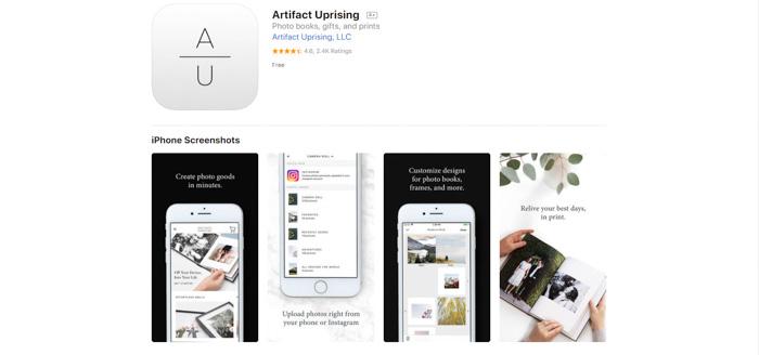 A screenshot of Artifact Uprising printing website