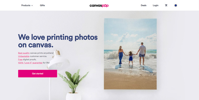 A screenshot of Canvas Pop photo printing website