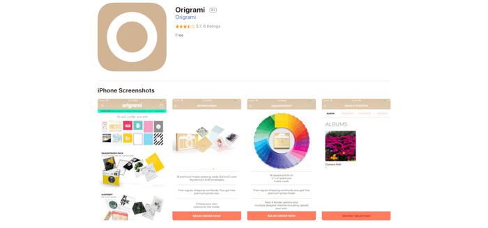A screenshot of Origrami photo printing site