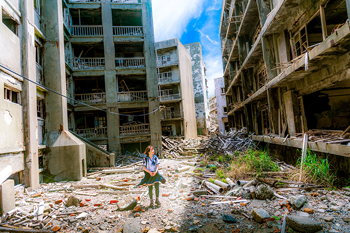 A portrait of a Japanese girl in an abandoned area on Hashima Island, Japan photography