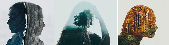 A triptych photography example featuring three unique double exposure portraits