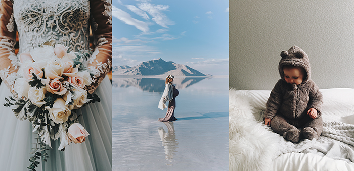 A triptych photography example featuring a bridal portrait, maternity photo and baby portrait