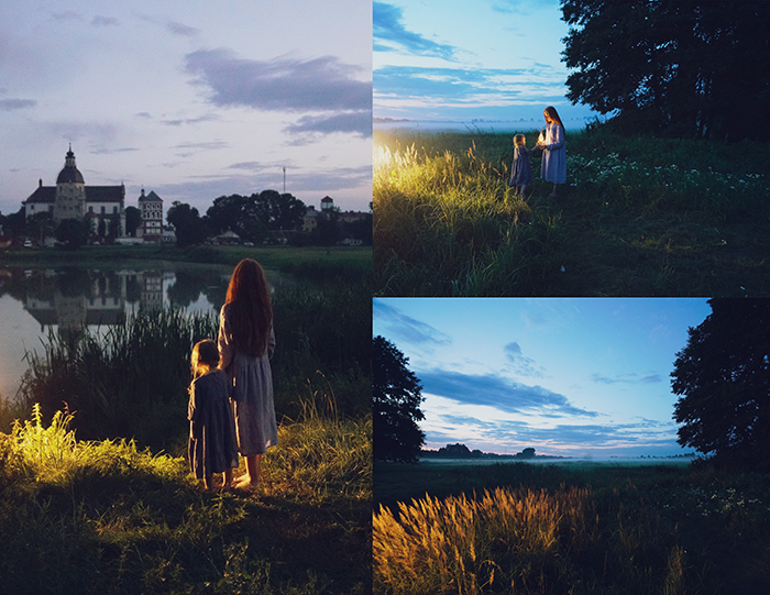 A triptych photography example featuring three views of a magical evening outdoor portrait shoot