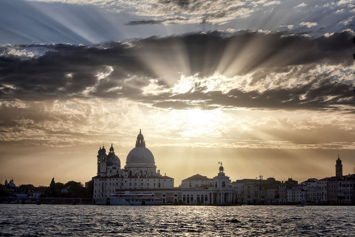 The sunset looking back onto Venice from San Giorgio Maggiore.