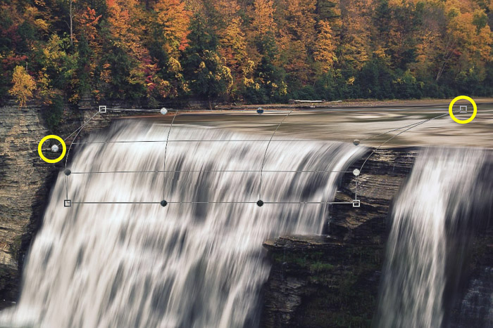 How to add waterfall effect in Photoshop - warp tool