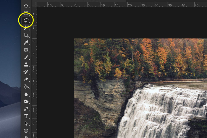 How to add waterfall effect in Photoshop - Make a Selection of the Waterfall