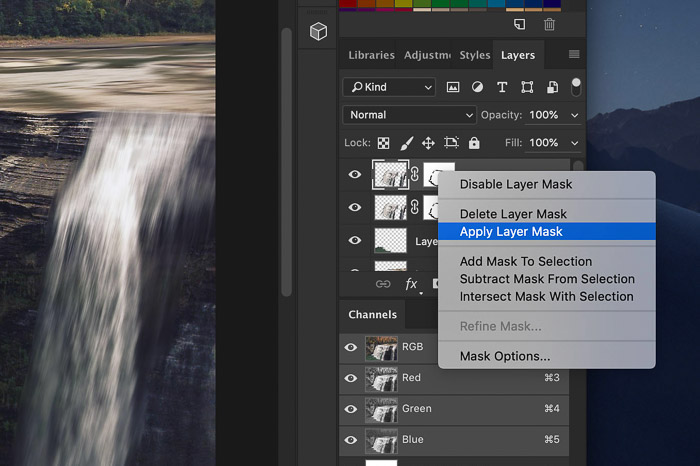 How to add waterfall effect in Photoshop - apply the layer mask