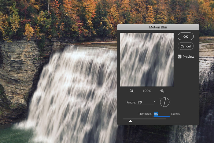 How to add waterfall effect in Photoshop - add motion blur