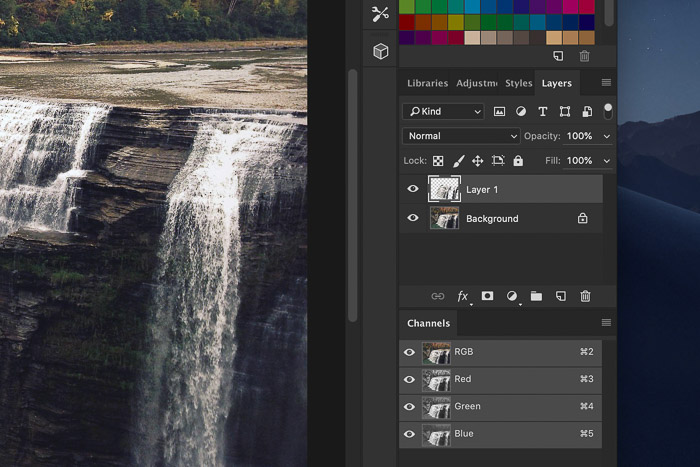 How to add waterfall effect in Photoshop - Copy the Selection to a New Layer