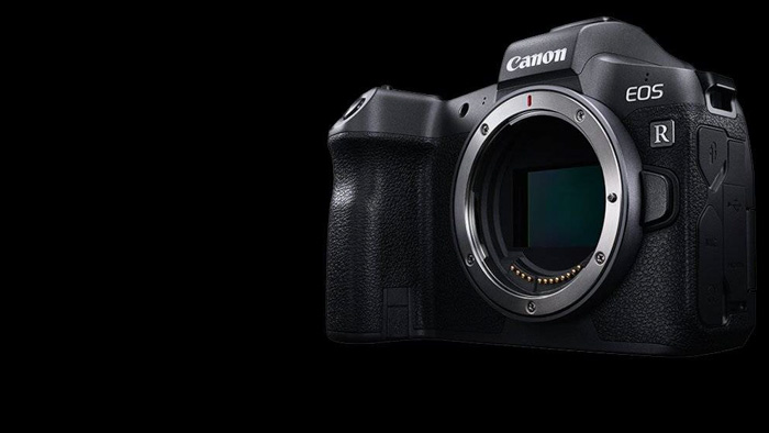 A front view of the canon eos r mirrorless camera