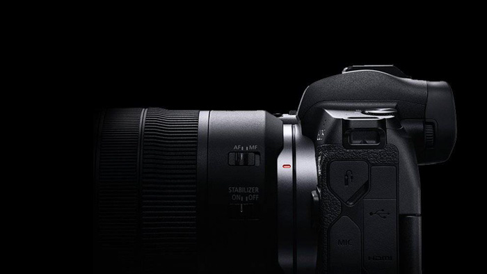 side view of the canon eos r mirrorless camera