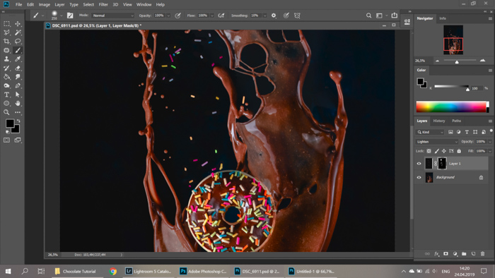 A screenshot of editing chocolate splash food photography in Photoshop