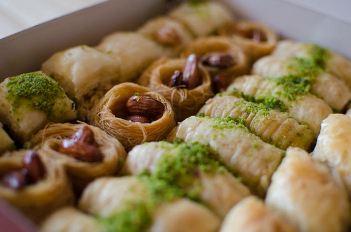 Lines of tasty baklawa sweets shot using ettr technique