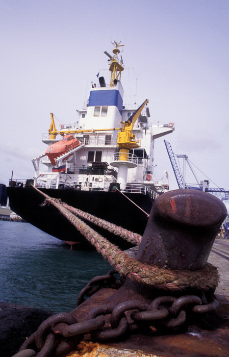 A ship tied to a bollard showing a sense of scale in photography