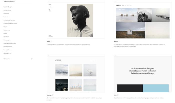 A screenshot of a photographers website
