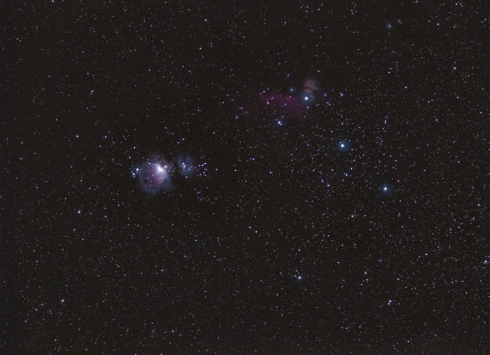 The Lower part of Orion Constellation with Olympus EPL-6 and Samyang 85 f/1.8 (170mm EFL) on the Minitrack LX2.