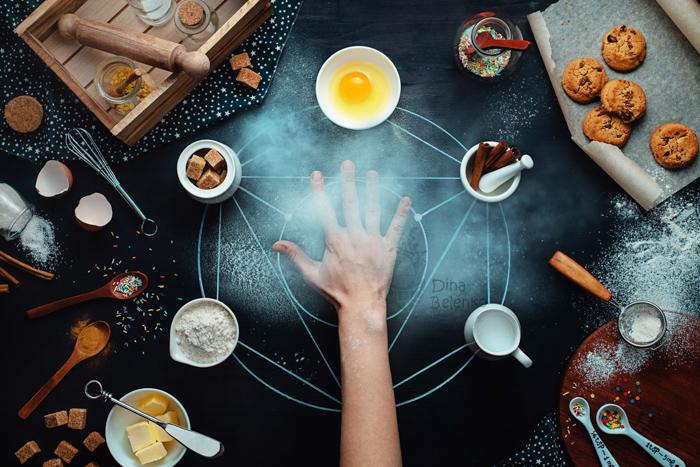 An alchemist themed still life using creative cookie photography