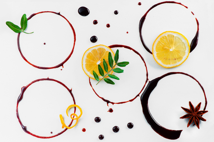 A flat lay of circles and fruit as a background for cookie photography