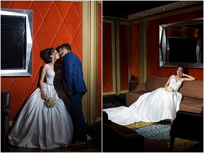 A wedding portrait diptych of the newlywed couple kissing and the bride relaxing on a couch - wedding flash photography