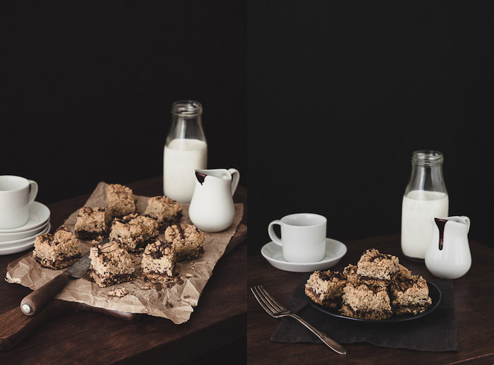 A dark and moody diptych featuring milk and cookies