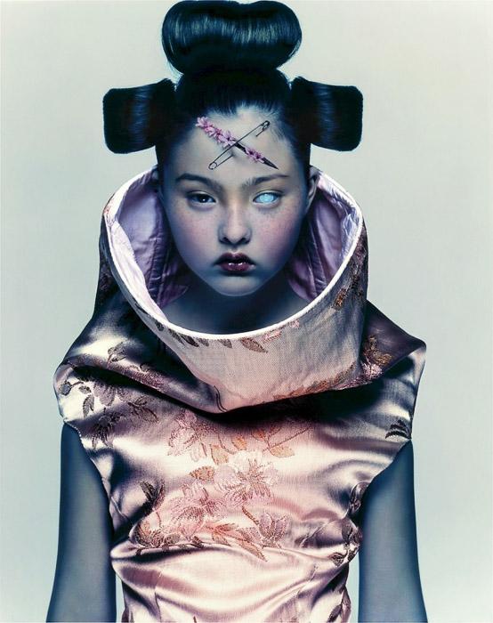 A surreal portrait of a female fashion model as a futuristic geisha by Nick Knight