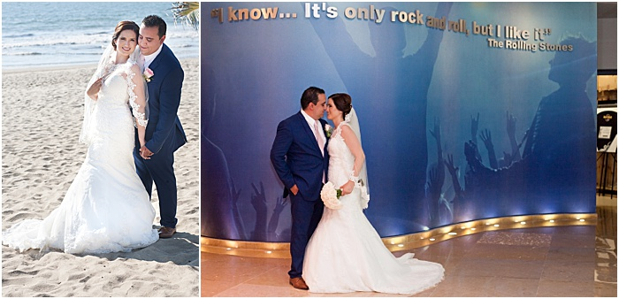 A wedding portrait diptych of the newlywed couple - wedding flash photography