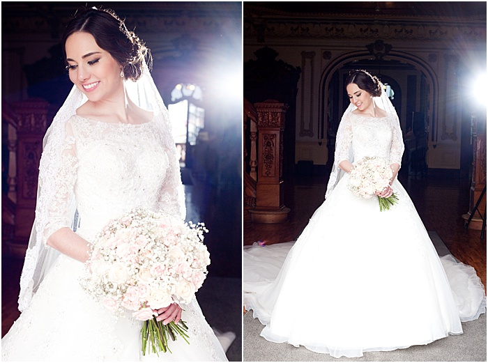 A wedding portrait diptych of the bride posing indoors - wedding flash photography