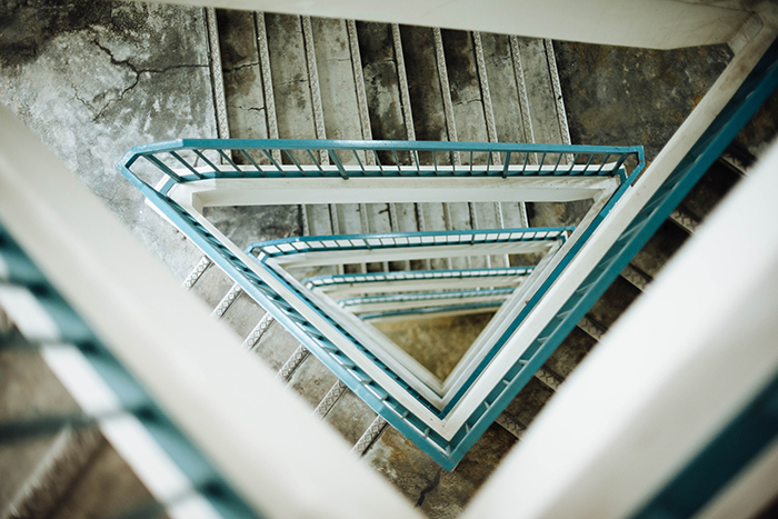 Looking dowqn through a multilayered staircase - form photography tips