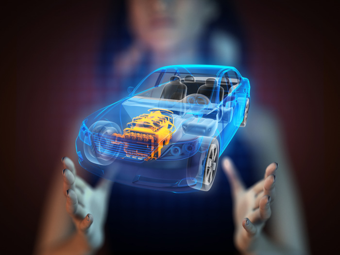 A conceptual image of a female model holding a hologram of a car - future of photography predictions
