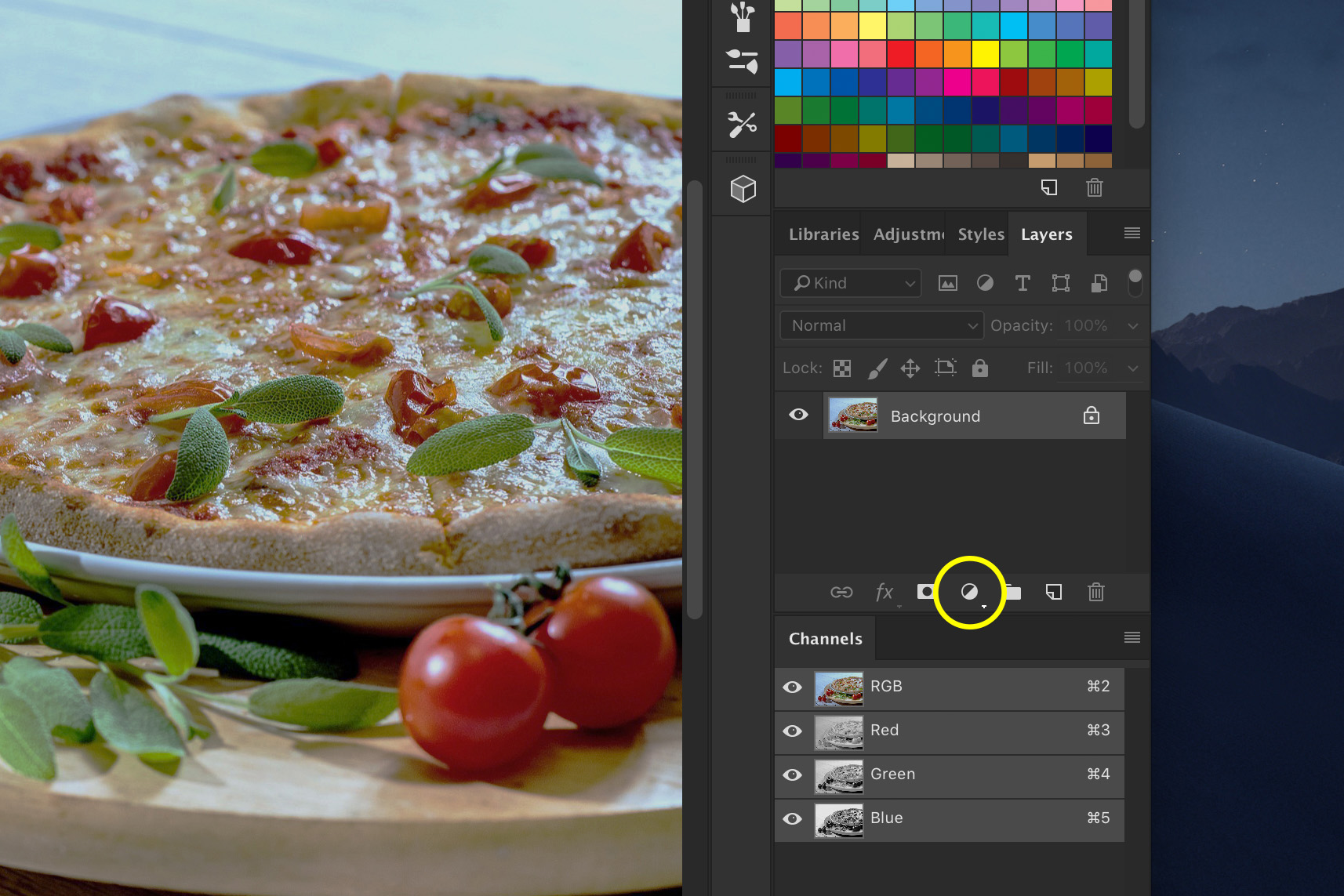 A screenshot showing how to edit food photography in Photoshop -