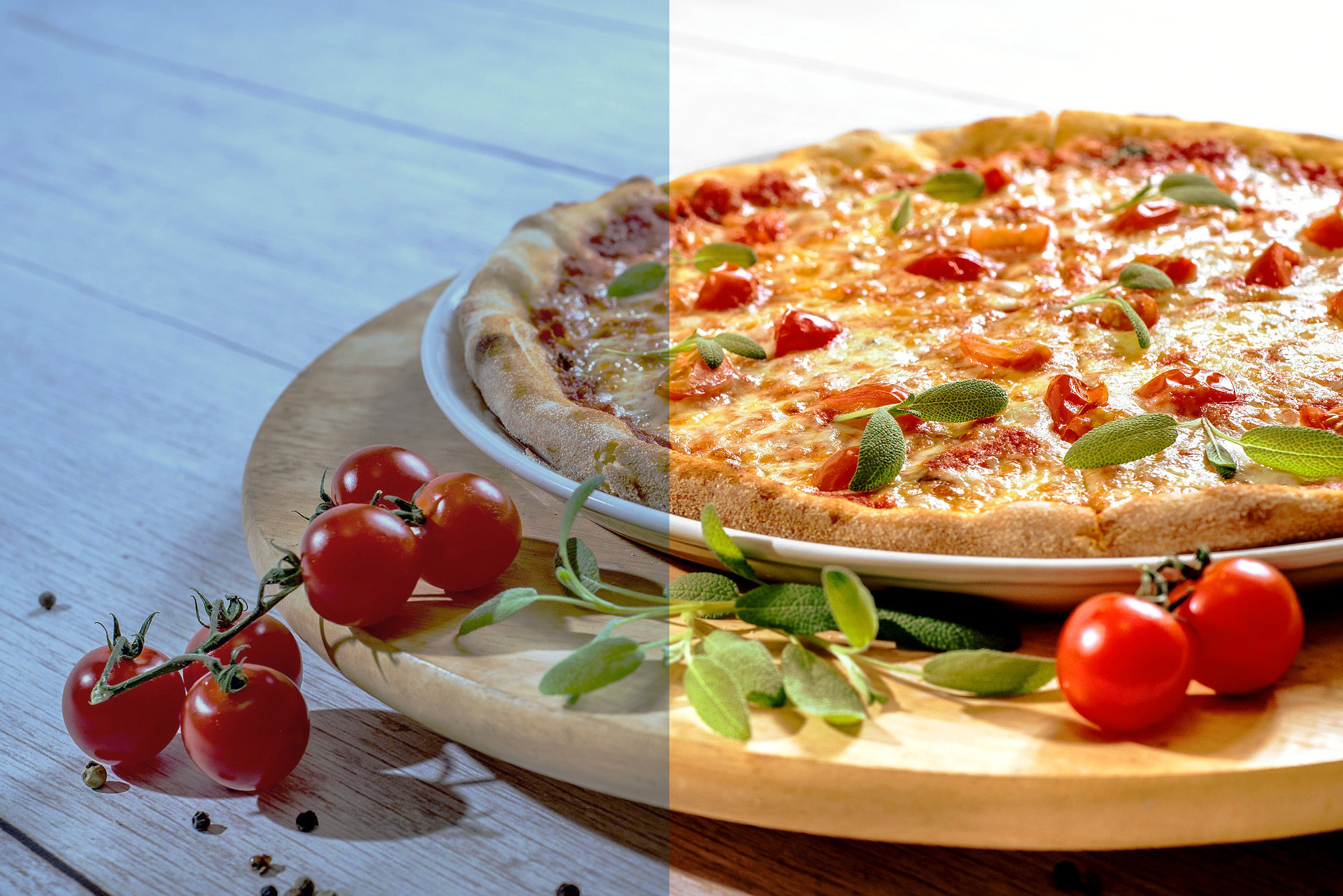 A screenshot showing how to edit food photography in Photoshop - before and after editing